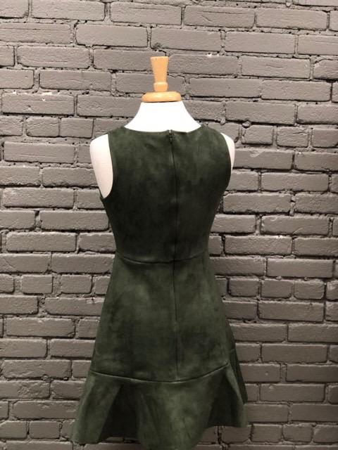 Dress Olive Sleeveless Suede Dress w/ Ruffle Hem