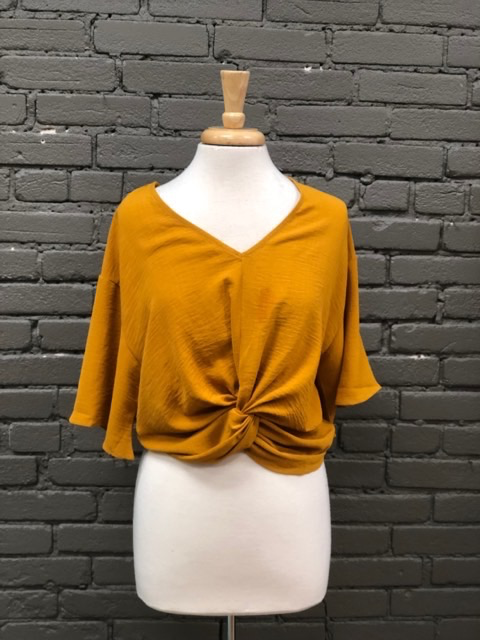 Blouse Mustard Twist Top w/ Front V Neck