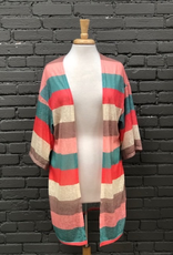Cardigan Multi Colored Knit Mid Sleeve Cardigan