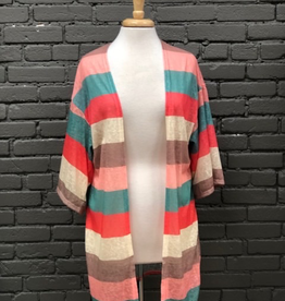 Cardigan Multi Colored Knit Mid Sleeve Cardigan