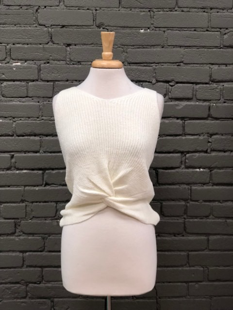 Tank White Sleeveless Tank w/ Twisted Front Knot
