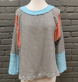 Long Sleeve Black/White Striped LS w/ Blue Sleeve Detail