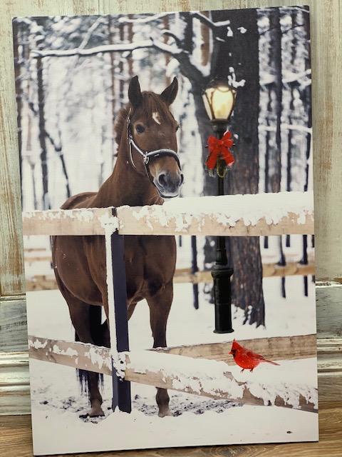 Decor Canvas LED Horse Winter