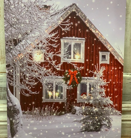 Decor Red House In Snow Light Up