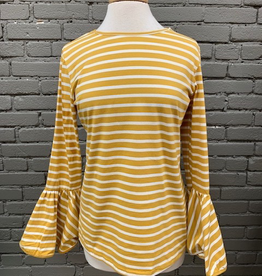 Top Mustard Stripe Bell Sleeve Top