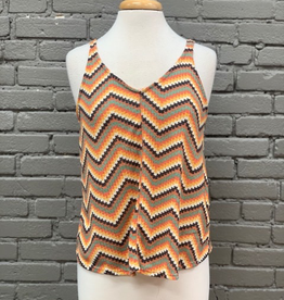 Tank Multi Color Zig Zag Sleeveless Knit Top