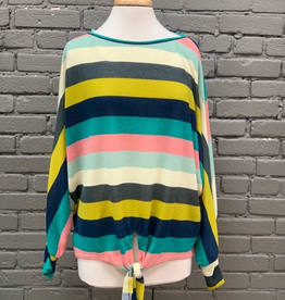 Long Sleeve LS Green Stripe Knit Top w/ Front Tie