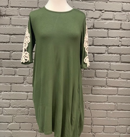 Dress Olive Quarter Sleeve Dress w/ Lace Sleeve Detail