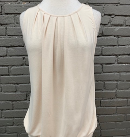 Tank Taupe Pleated Tank