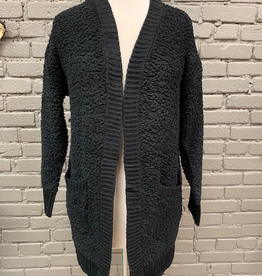 Cardigan Black Popcorn Cardi w/ Pockets