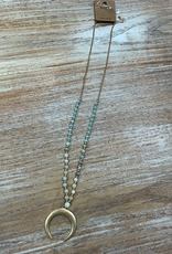 Jewelry Mint Bead Half Moon Necklace