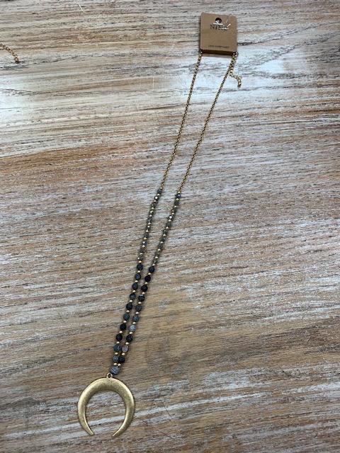 Jewelry Black Bead Half Moon Necklace