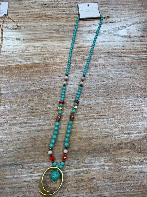 Jewelry Turq Beads Pendant Necklace