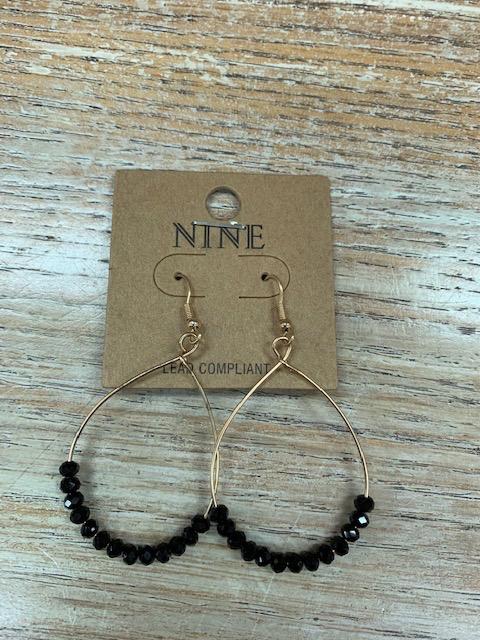 Jewelry Black Bead Oval Earrings