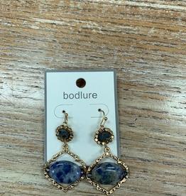 Jewelry Gold Blue Bead Earrings