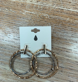 Jewelry Gold Silver Bead Hoop Earrings