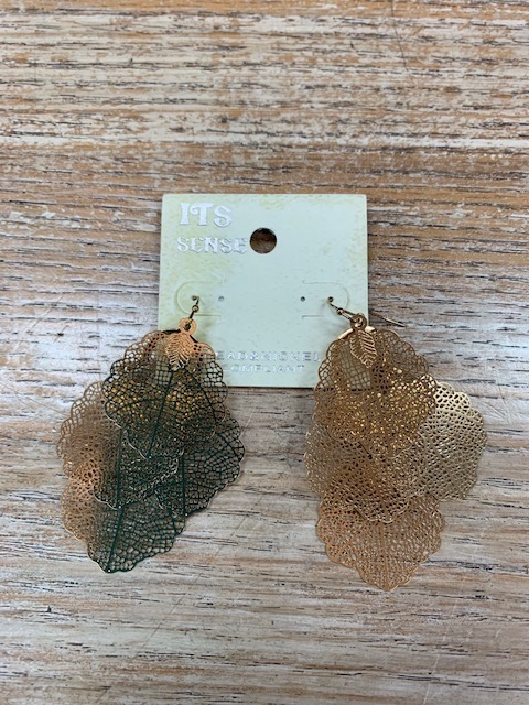Jewelry Gold Multi Leaf Earrings