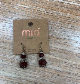 Jewelry Burgundy Glass Dangle Earrings