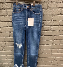 Jean High Rise Cropped Jean w/ Ankle Fringe