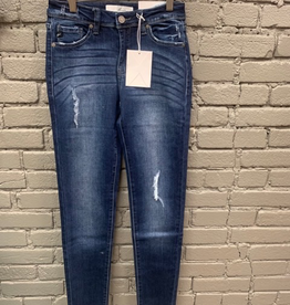 Jean Mid Rise Ankle Skinny Jean w/ Destruction