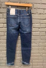 Jean MId RIse Jean w/ Ankle Detail & Fringe