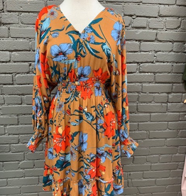 Dress Camel Floral VNeck Tie Dress