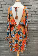 Dress Camel Floral VNeck Tie Dress