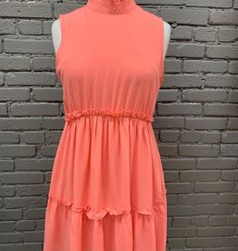 Dress Salmon Mock Ruffled Dress