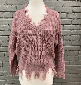Sweater Mauve Frayed VNeck Sweater