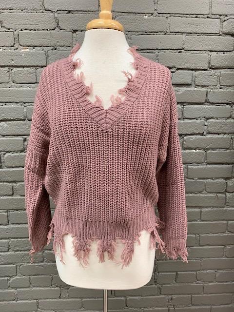 Sweater Mauve Frayed VNeck Sweater