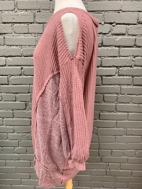 Dress Berry Waffle Cold Shoulder Dress