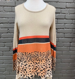 Long Sleeve Stripes Leopard LS