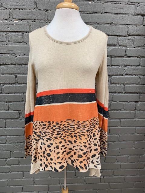 Long Sleeve Stripes Leopard LS