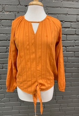 Long Sleeve Pumpkin Tie Peasant Top