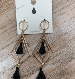 Jewelry Gold Thin Wire w/ Tassel Earrings
