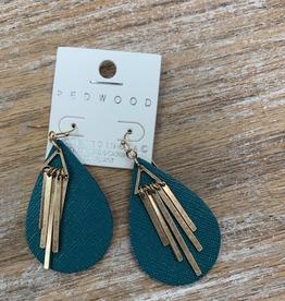 Jewelry Teal Teardrop Gold Earrings