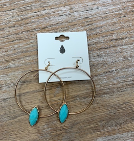 Jewelry Gold Hoop w/ Turq Stone Earrings