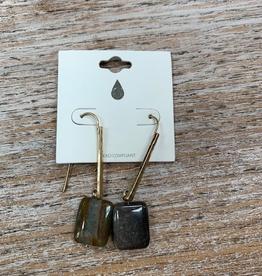 Jewelry Dark Stone Gold Hammered Earrings