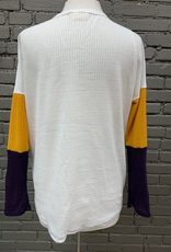 Long Sleeve Colorblock Waffle Button LS