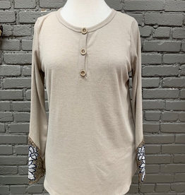 Long Sleeve Taupe LS Thermal Crochet Wrist