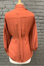 Top Rust Puff Button Tie Top