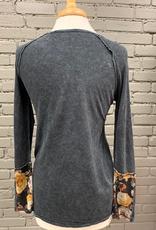 Long Sleeve Black LS w/ Floral Cuffs
