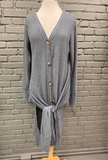 Cardigan Charcoal Waffle Button Long Cardi