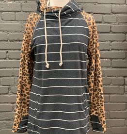 Hoodie Leopard/Stripe Double Hoodie
