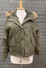 Jacket Olive Fur Hooded Bomber Jacket