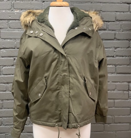 Jacket Olive Fur Hooded Bomber Jacket
