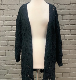Cardigan Black Open Knit Cardigan