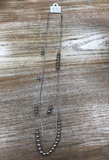 Jewelry Long Silver Necklace w/ Beads