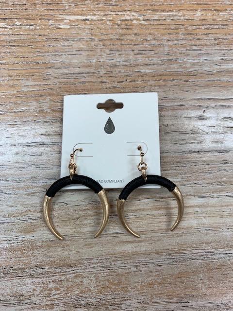 Jewelry Gold Black Half Moon Earrings