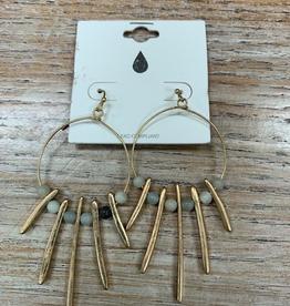 Jewelry Gold Earrings w/ Dangles Beads